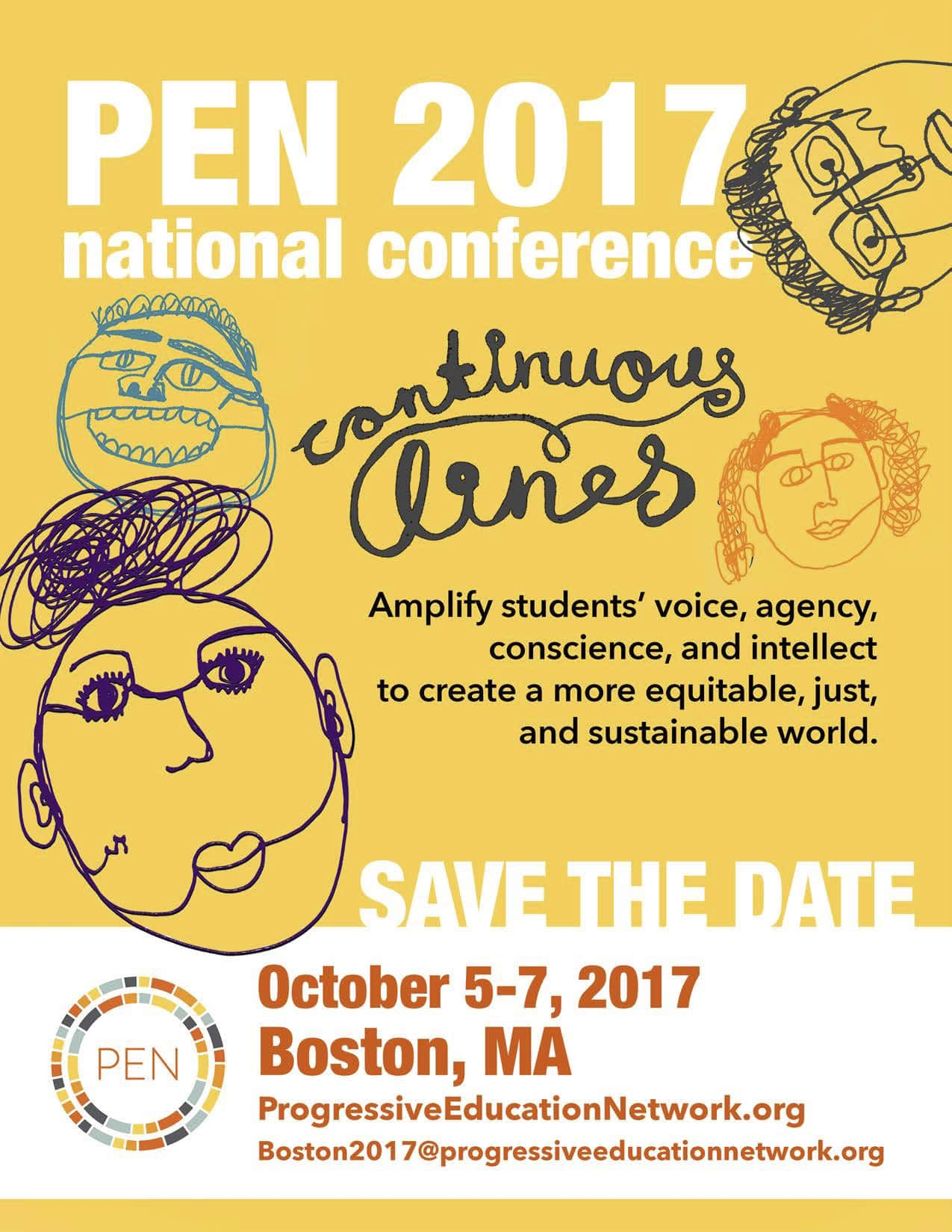 An illustrated poster to promote the PEN 2017 Conference in Boston, MA